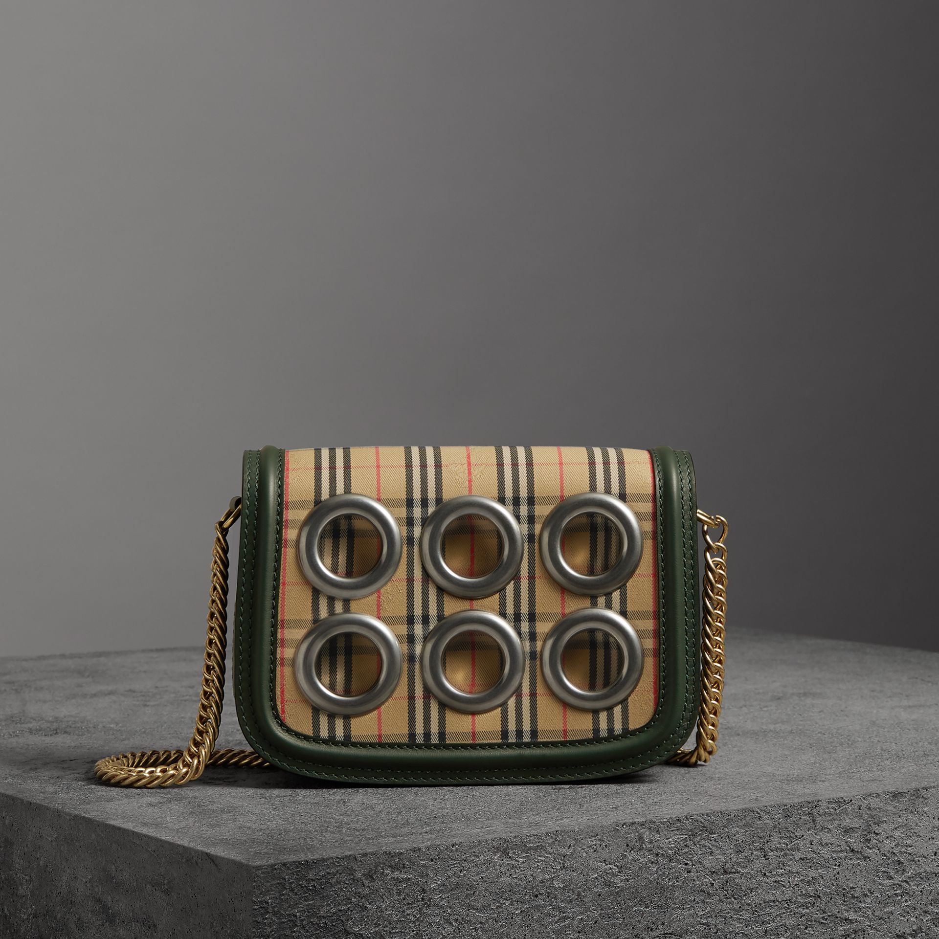 The 1983 Check Link Bag with Grommet Detail in Dark Forest Green - Women | Burberry - gallery image 0