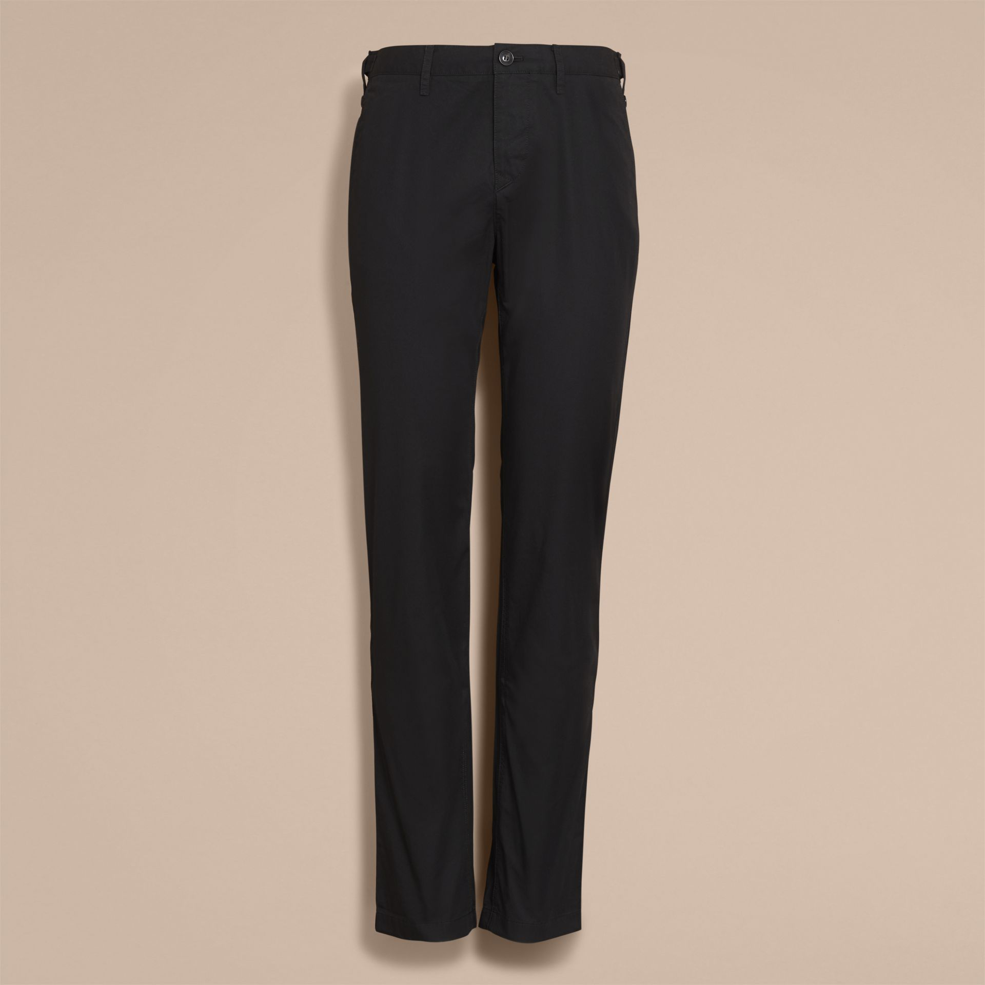 Straight Fit Cotton Chinos in Black - gallery image 4