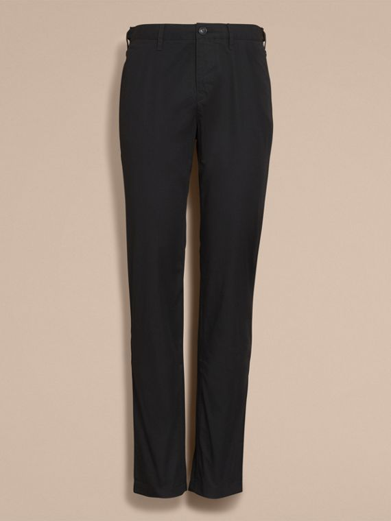 Straight Fit Cotton Chinos in Black - Men | Burberry Canada - cell image 3