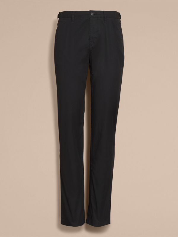 Straight Fit Cotton Chinos in Black - Men | Burberry - cell image 3
