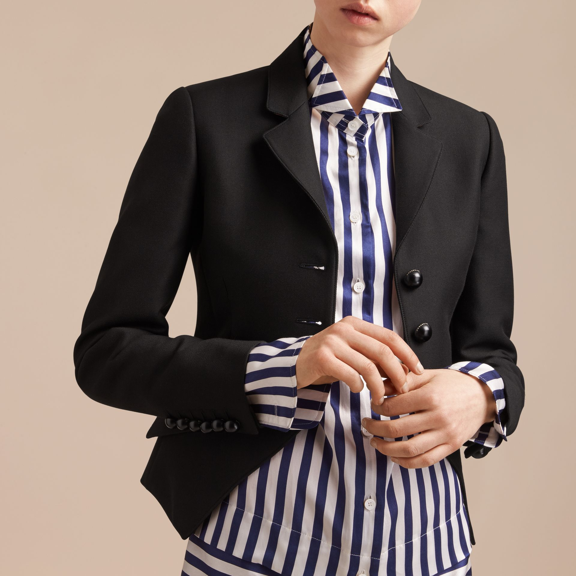 Wool Cotton Blend Twill Tailored Jacket in Black - Women | Burberry - gallery image 6