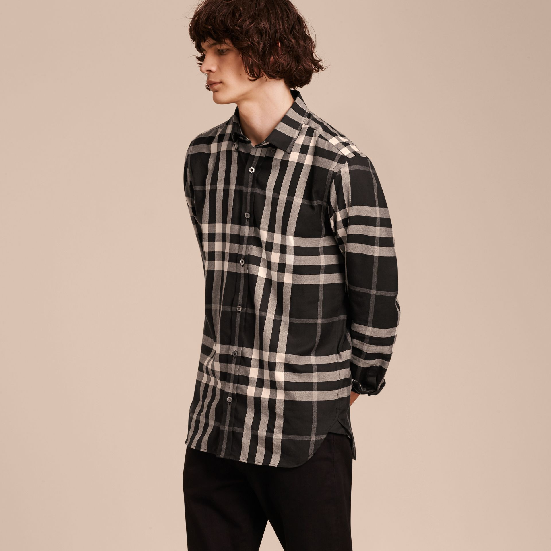 Black Check Cotton Cashmere Flannel Shirt Black - gallery image 6