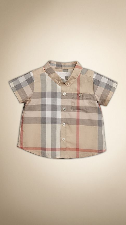 Pale classic check Washed Check Cotton Short Sleeve Shirt - Image 1