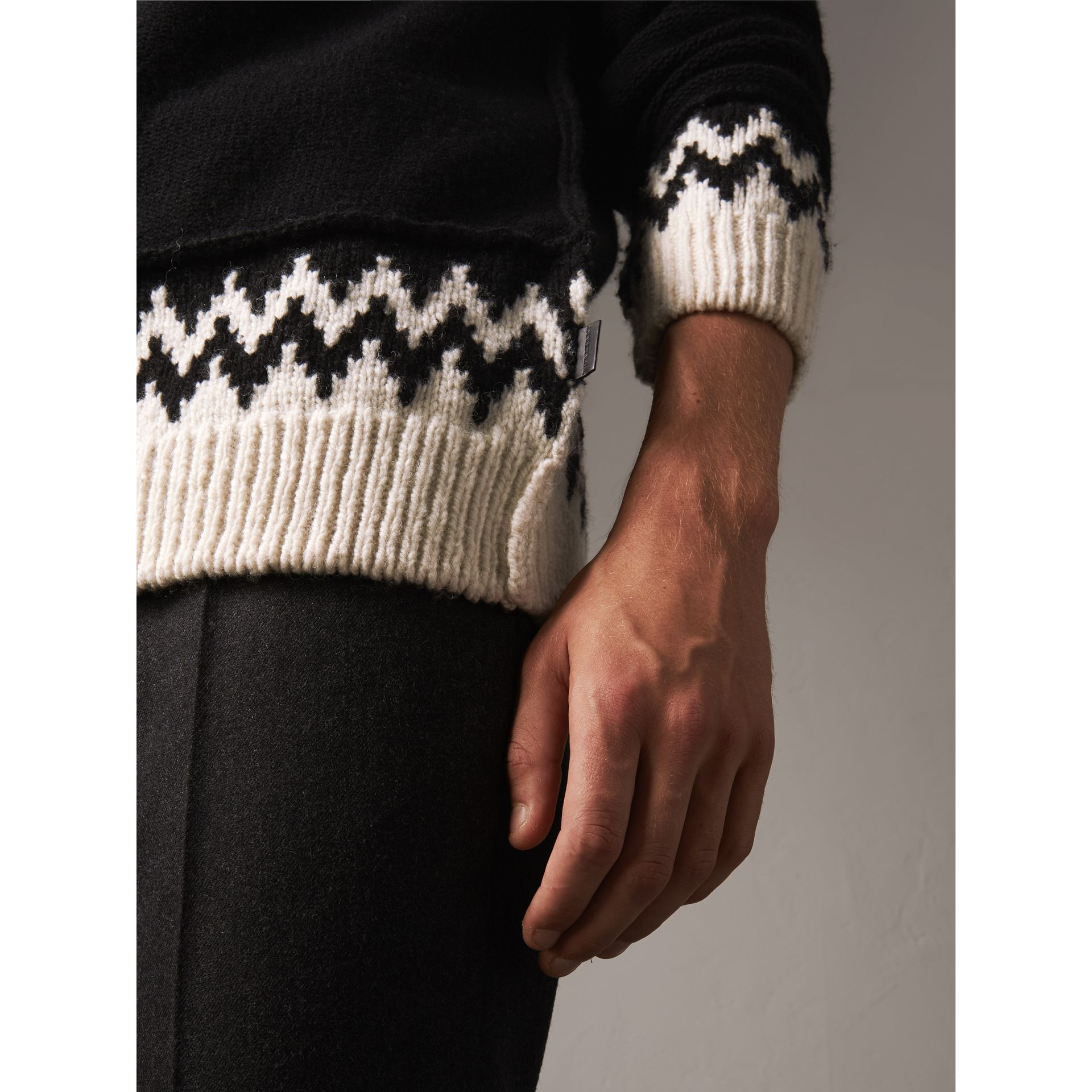 Fair Isle Wool Cashmere Sweater in Black/ Military Red - Men | Burberry - gallery image 1
