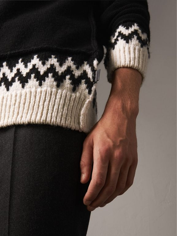 Fair Isle Wool Cashmere Sweater in Black/ Military Red - Men | Burberry - cell image 1