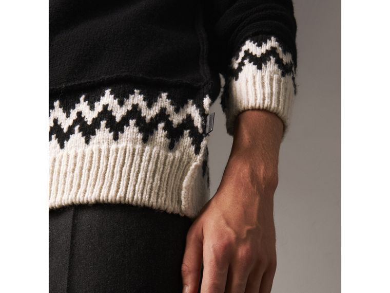 Fair Isle Wool Cashmere Sweater in Black/ Military Red - Men | Burberry Australia - cell image 1
