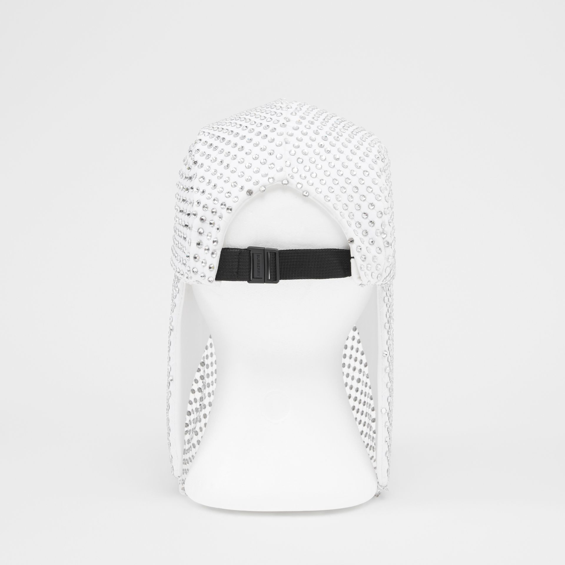 Crystal Mesh Detail Cotton Bonnet Cap in Optic White | Burberry - gallery image 7
