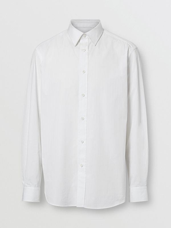 Classic Fit Striped Cotton Shirt in White - Men | Burberry - cell image 3