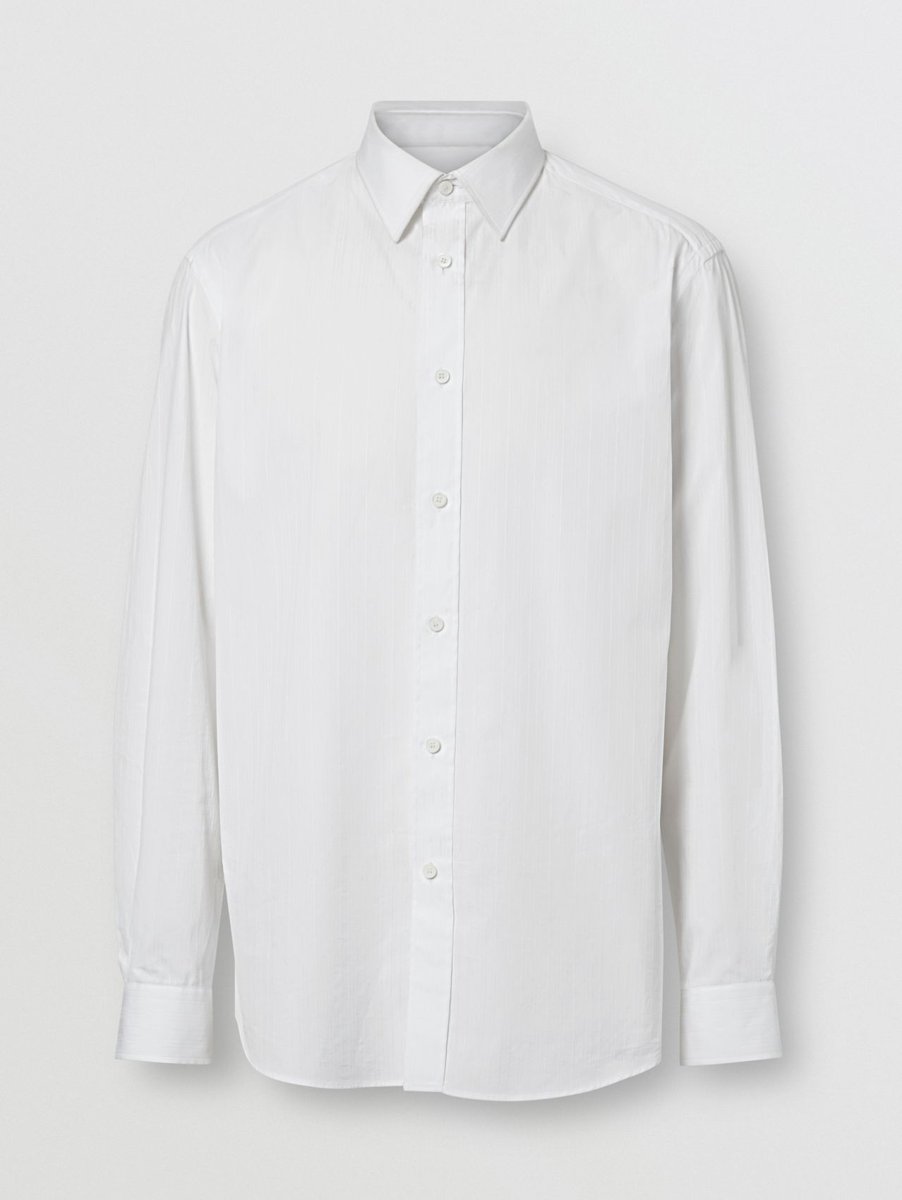 Classic Fit Striped Cotton Shirt in White