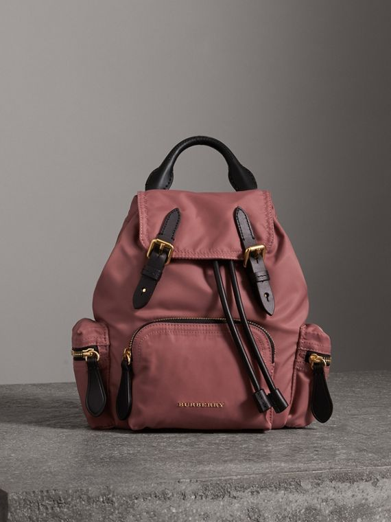 The Crossbody Rucksack in Nylon and Leather in Mauve Pink