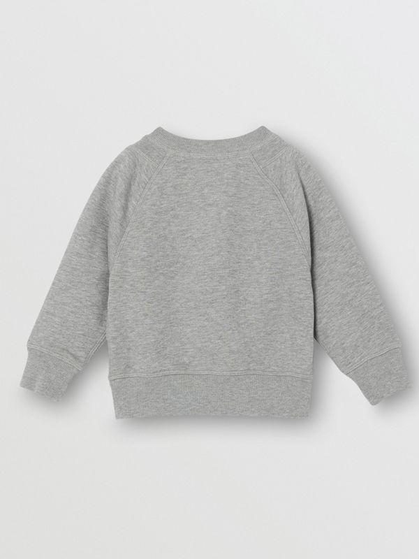 Logo Detail Cotton Sweatshirt in Grey Melange - Children | Burberry - cell image 3