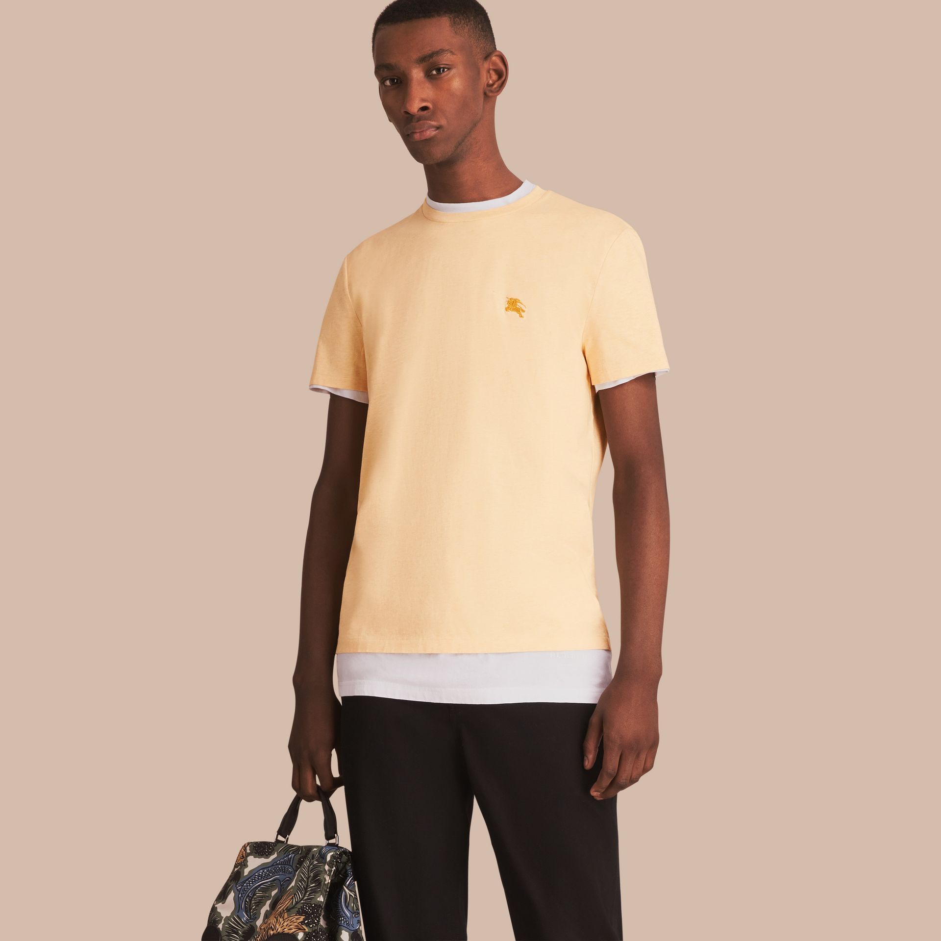 Cotton Jersey T-shirt in Pale Yellow Melange - Men | Burberry - gallery image 1