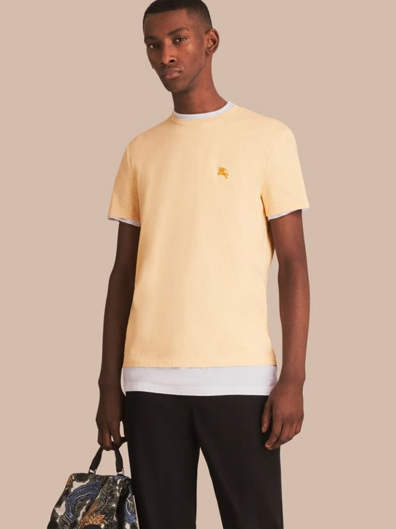 Cotton Jersey T-shirt in Pale Yellow Melange - Men | Burberry
