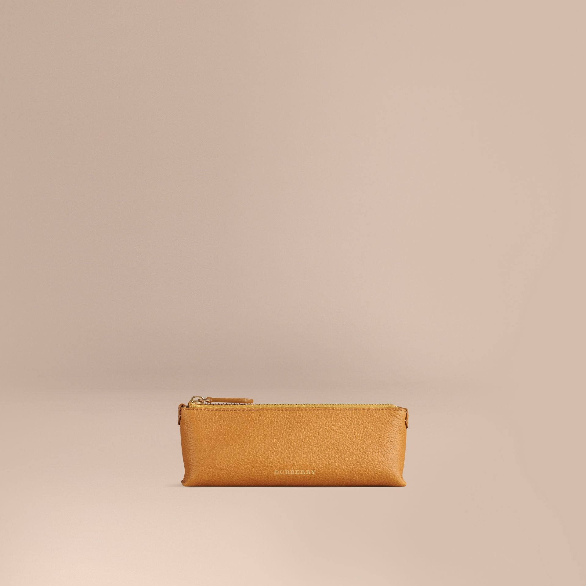 Ochre yellow Small Grainy Leather Digital Accessory Pouch Ochre Yellow - gallery image 1