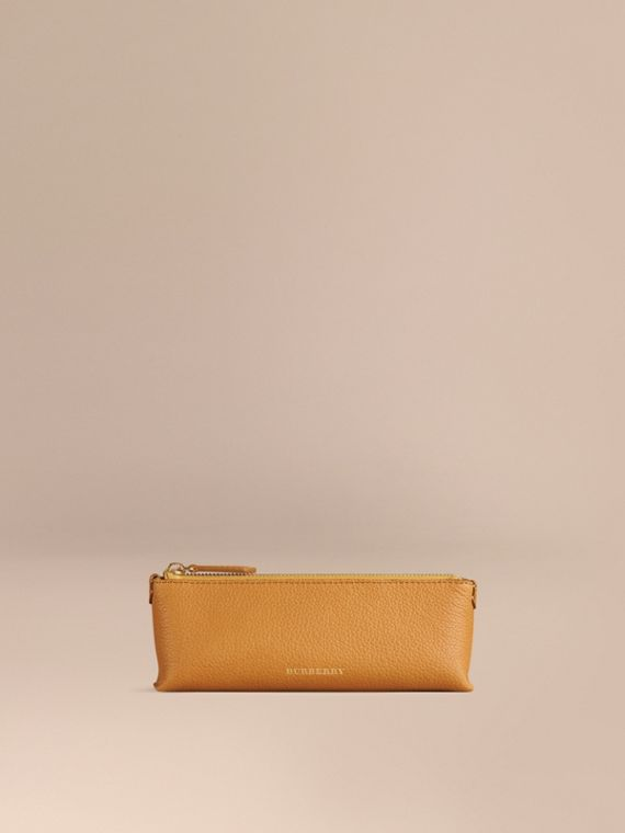 Small Grainy Leather Digital Accessory Pouch Ochre Yellow