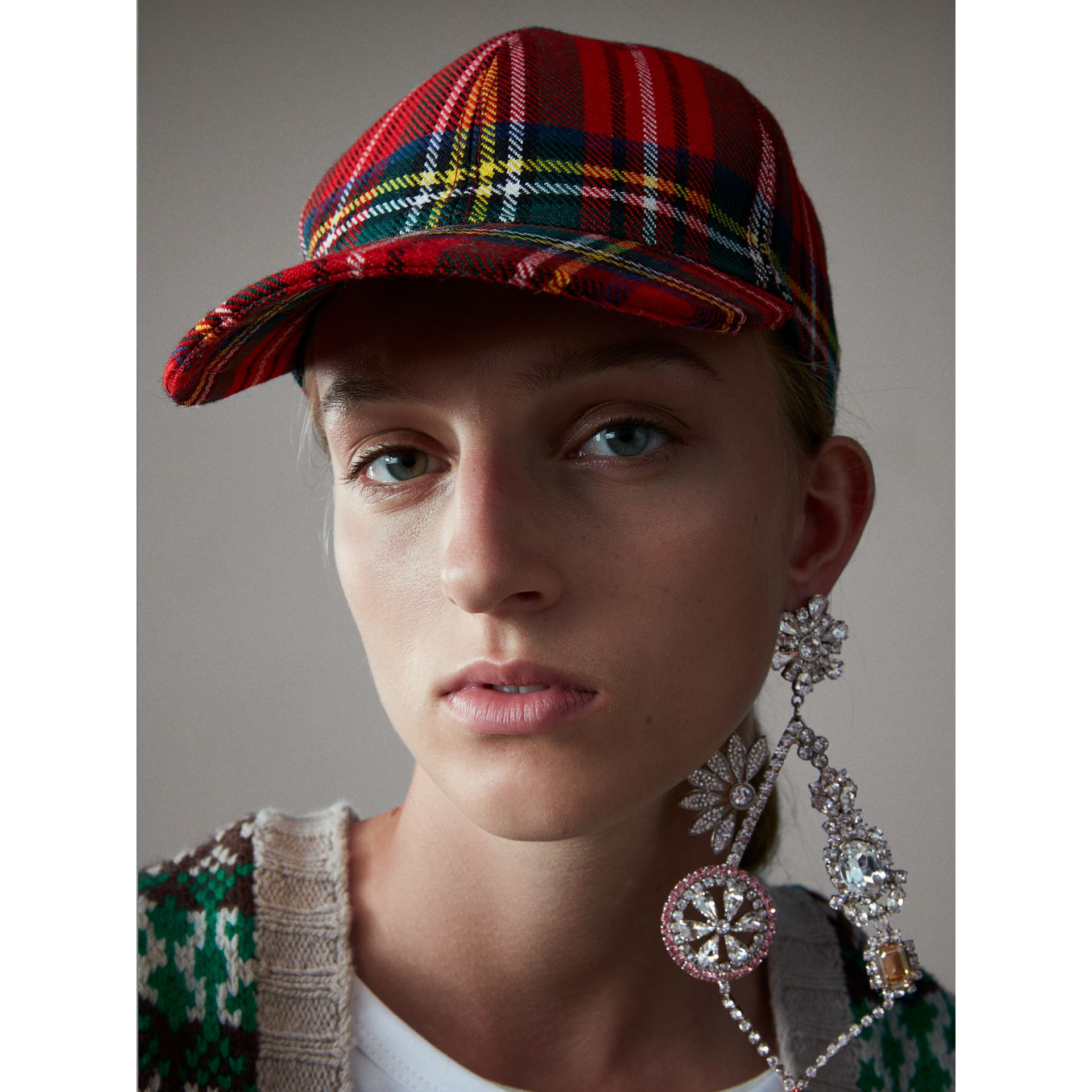 Tartan Baseball Cap in Bright Red | Burberry - gallery image 3