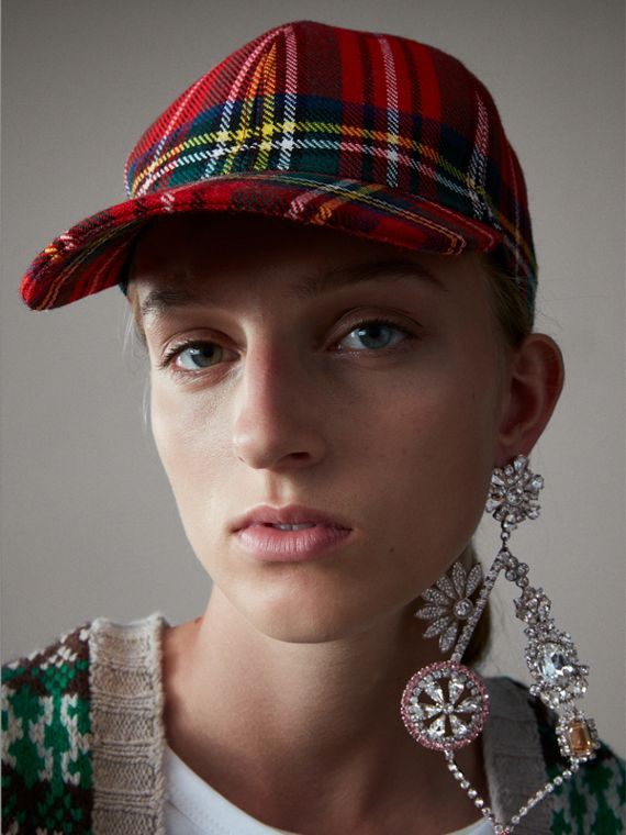 Tartan Baseball Cap in Bright Red | Burberry - cell image 2