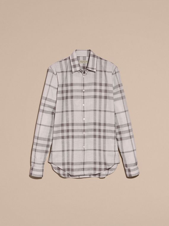 Mid grey Check Cotton Chambray Shirt Mid Grey - cell image 3