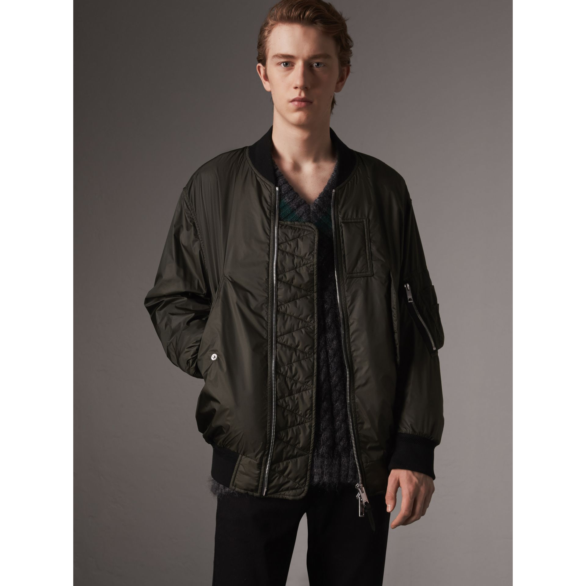 Lightweight Bomber Jacket in Dark Olive - Men | Burberry - gallery image 0