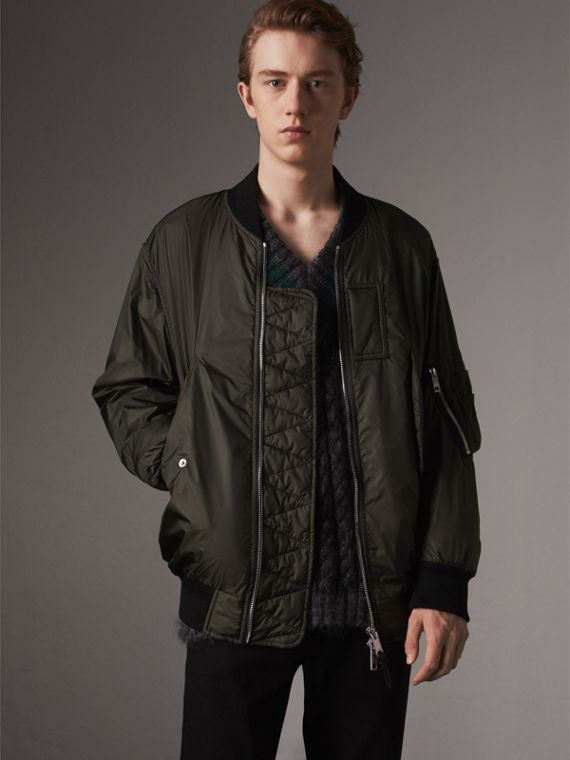 Lightweight Bomber Jacket in Dark Olive