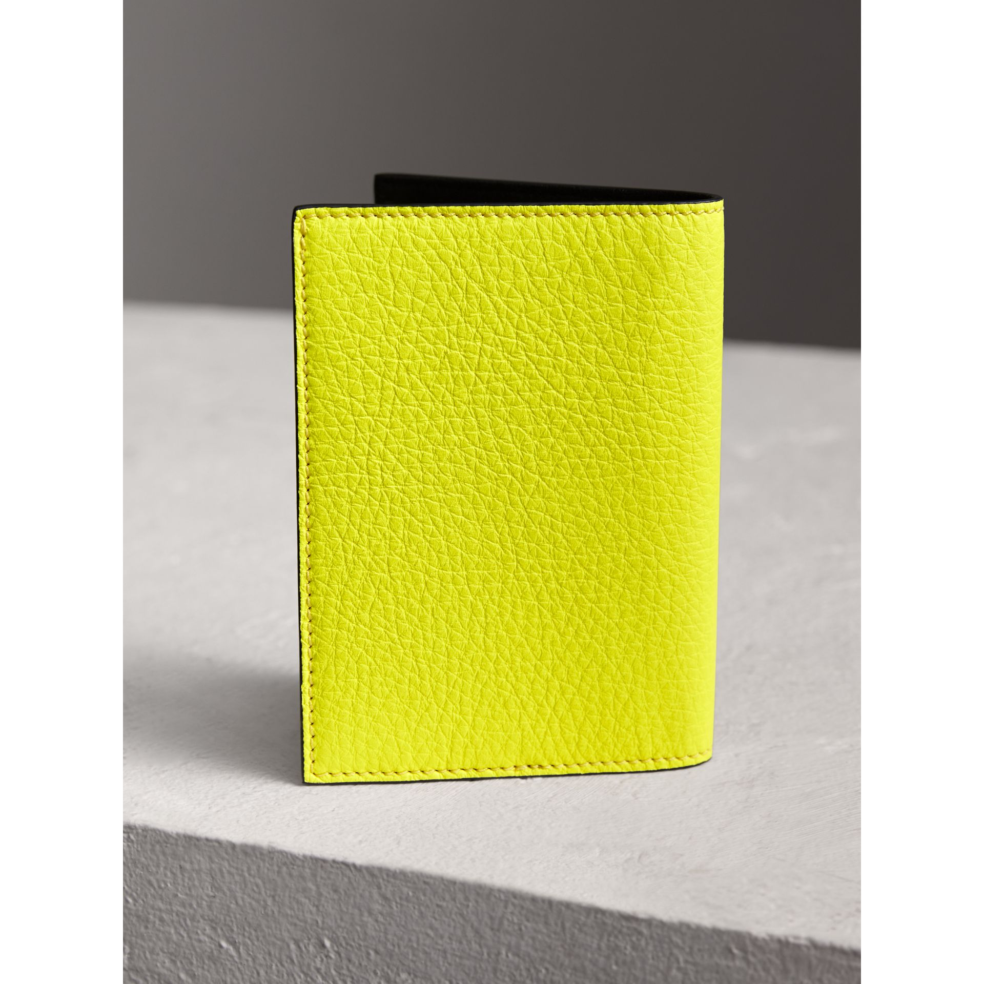 Embossed Leather Passport Holder in Bright Yellow | Burberry - gallery image 3