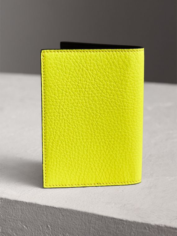 Embossed Leather Passport Holder in Bright Yellow | Burberry Australia - cell image 2