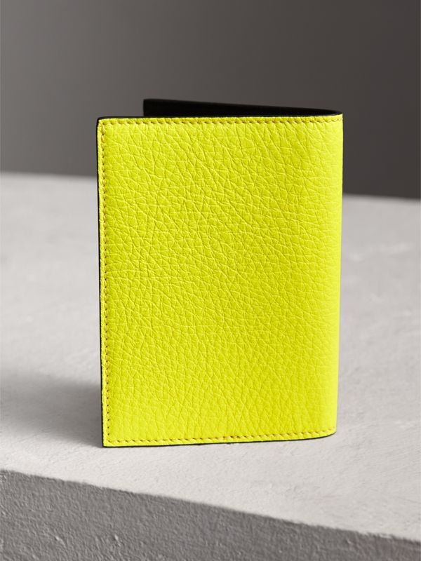 Embossed Leather Passport Holder in Bright Yellow | Burberry United Kingdom - cell image 2