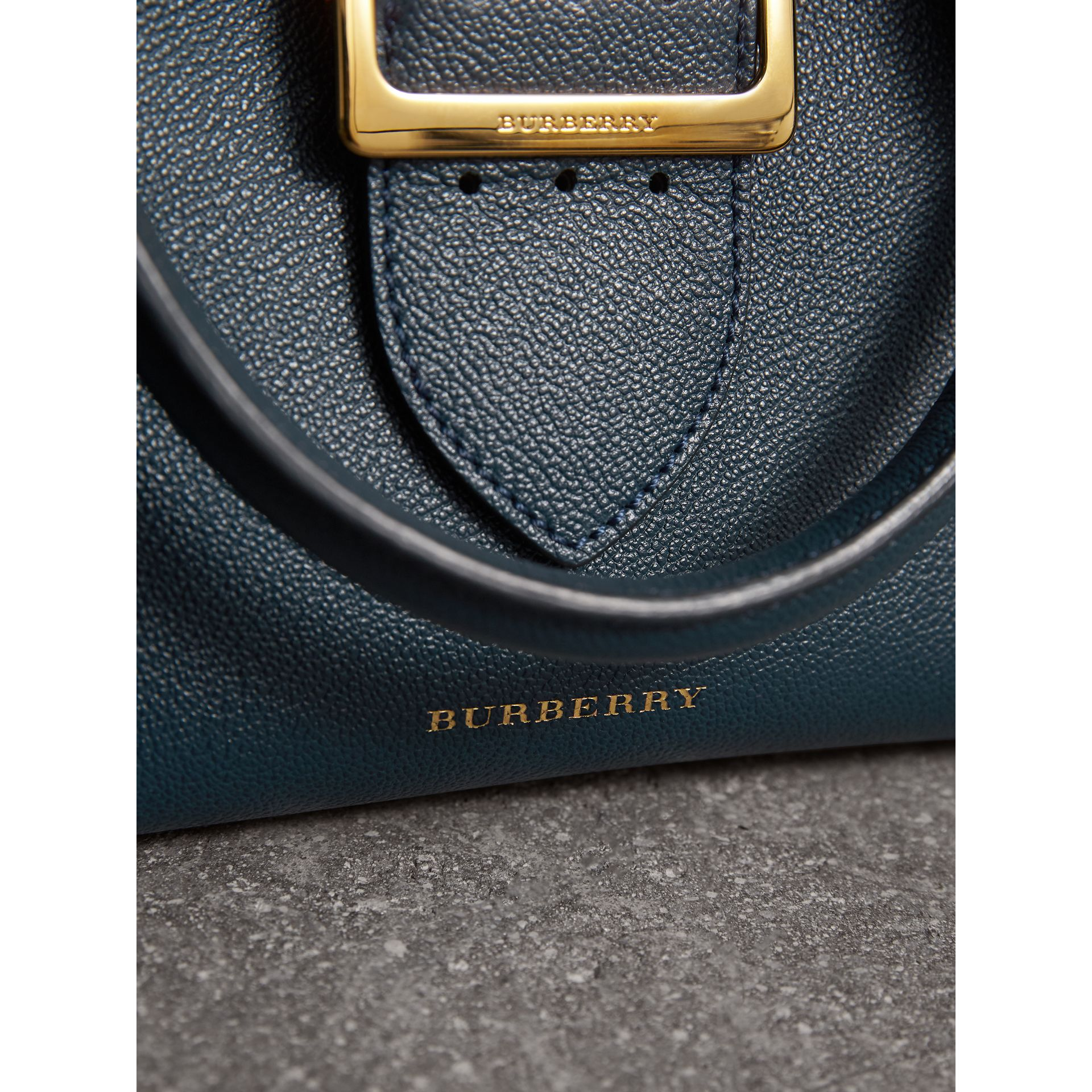 The Small Buckle Tote in Grainy Leather in Blue Carbon - Women | Burberry - gallery image 2