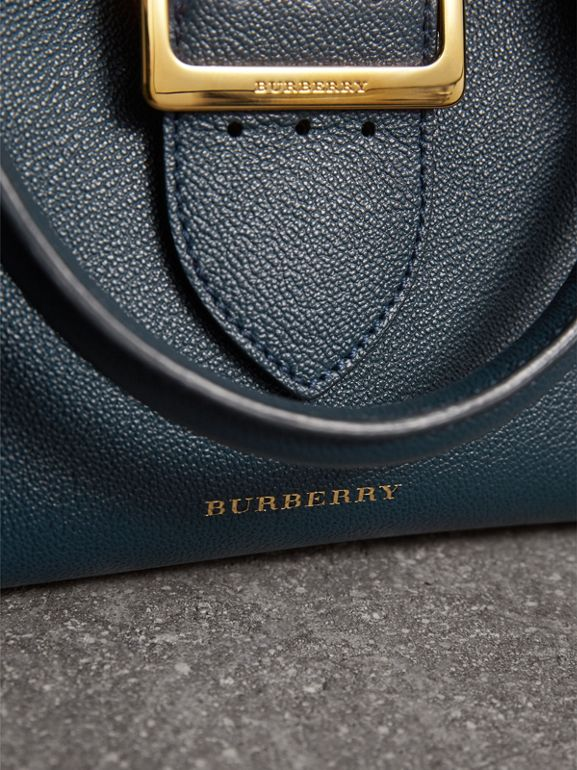 The Small Buckle Tote in Grainy Leather in Blue Carbon - Women | Burberry - cell image 1