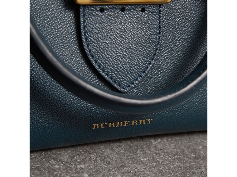 The Small Buckle Tote in Grainy Leather in Blue Carbon - Women | Burberry Australia - cell image 1