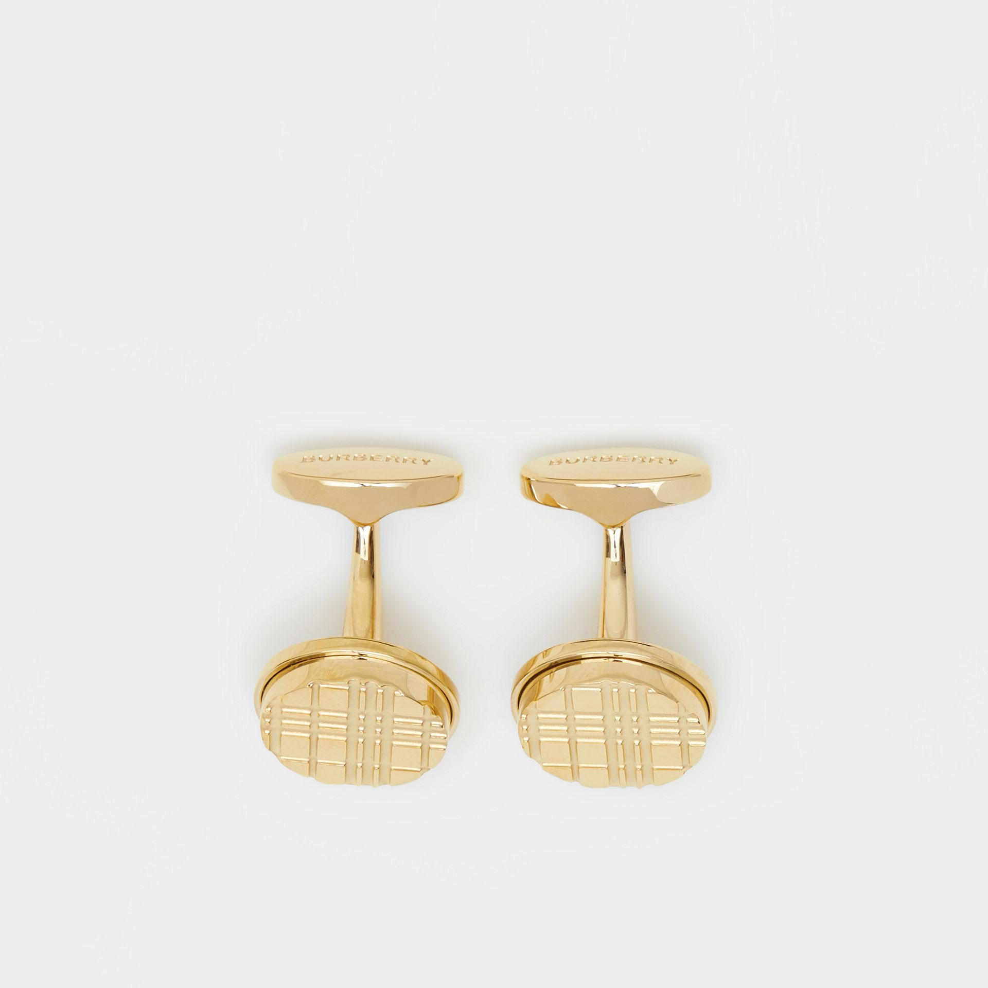 Gold-plated Check-engraved Round Cufflinks in Light - Men | Burberry United States - gallery image 2