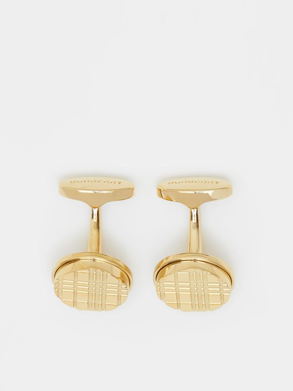 Gold-plated Check-engraved Round Cufflinks in Light - Men | Burberry Hong Kong S.A.R - cell image 2