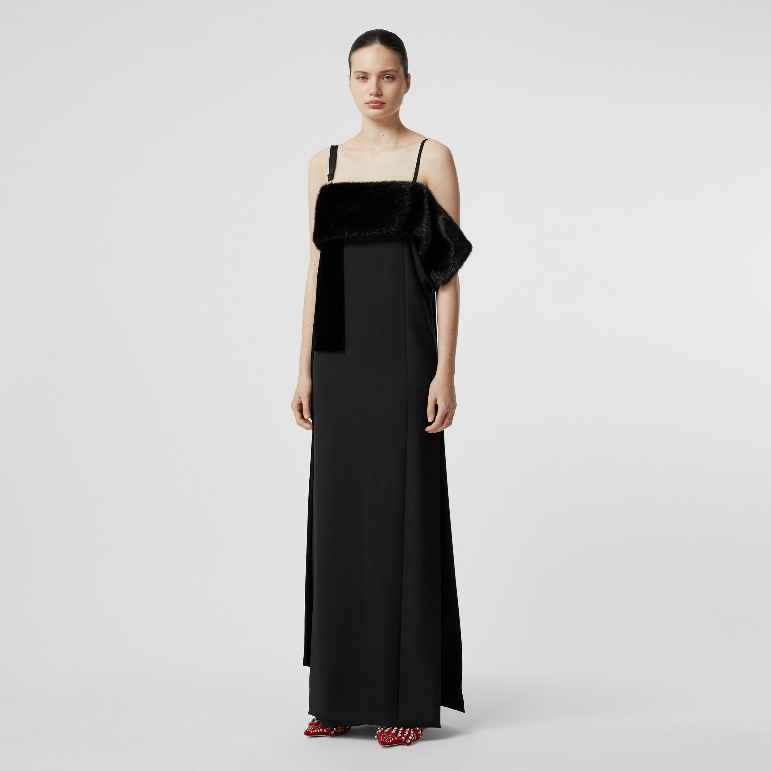 Faux Fur Detail Panelled Silk and Velvet Gown in Black - Women | Burberry - 1