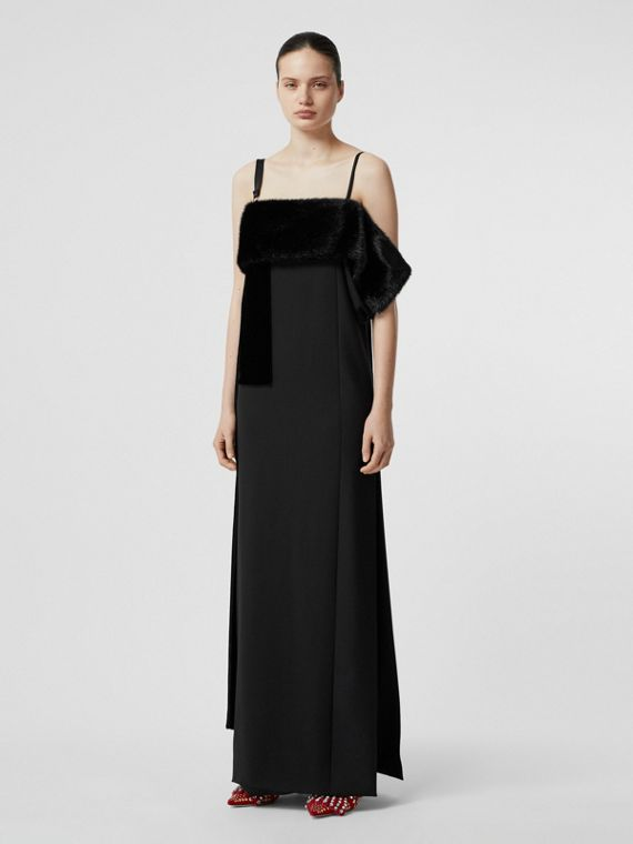 Faux Fur Detail Panelled Silk and Velvet Gown in Black