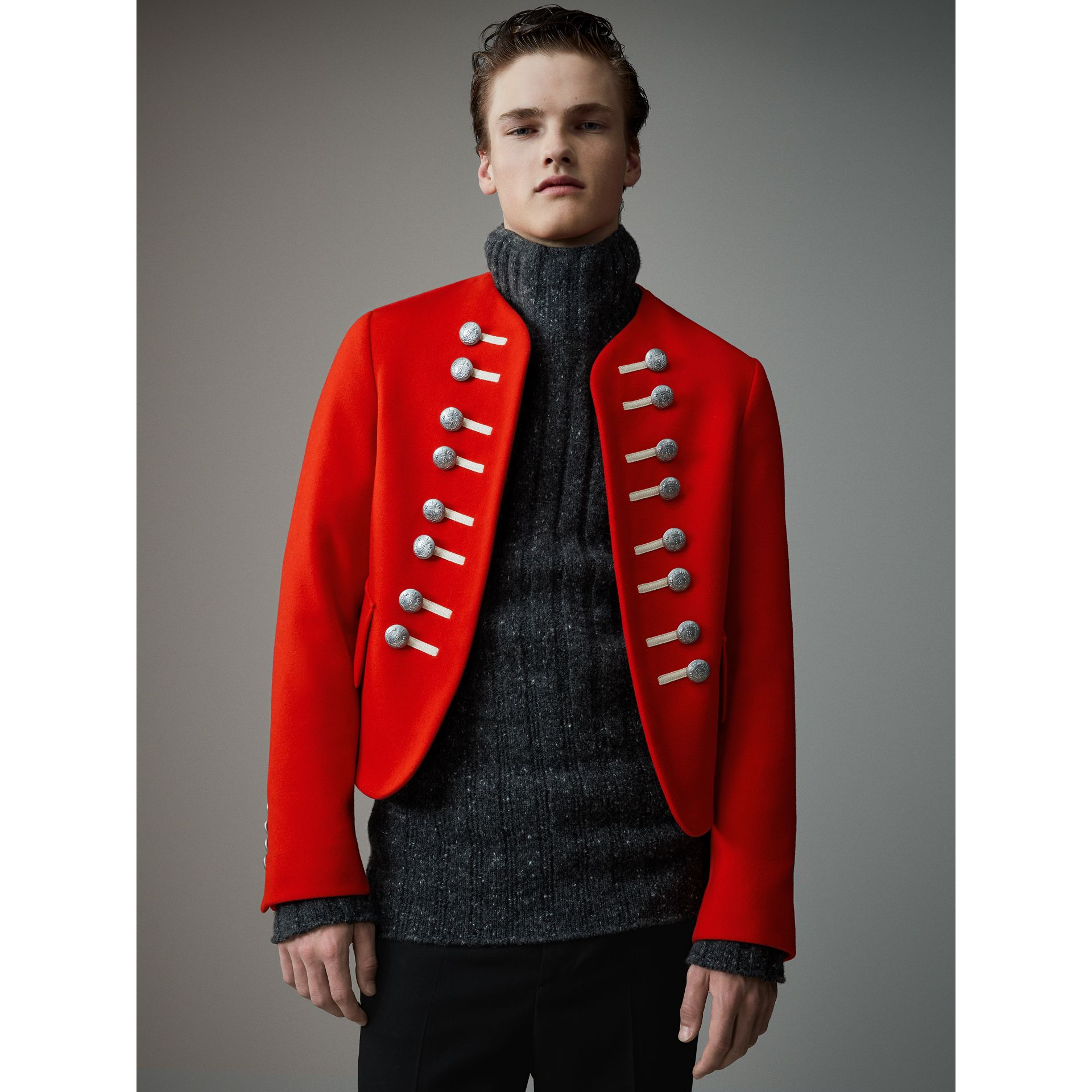 Wool Cropped Ceremonial Jacket in Orange Red - Men | Burberry United Kingdom - gallery image 4