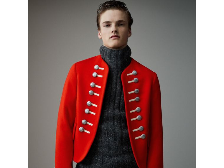 Wool Cropped Ceremonial Jacket in Orange Red - Men | Burberry Australia - cell image 4