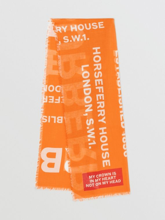 Horseferry Print Lightweight Wool Silk Scarf in Bright Orange