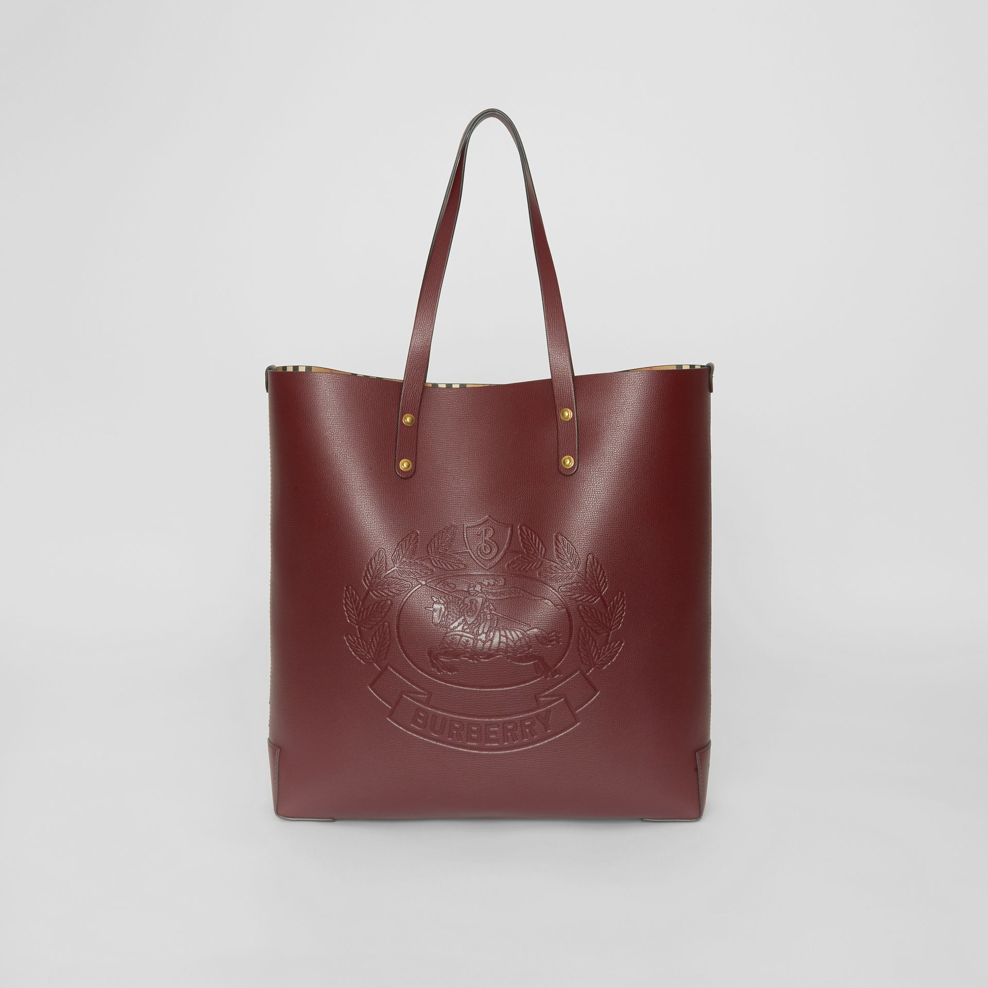 Large Embossed Crest Leather Tote in Burgundy | Burberry Australia - gallery image 0