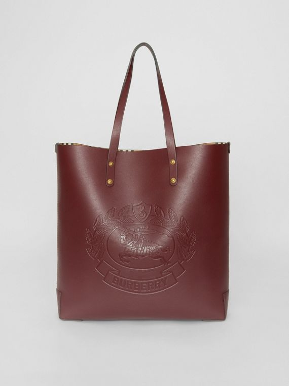 Large Embossed Crest Leather Tote in Burgundy