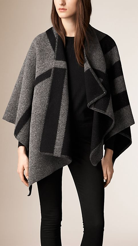 Dark grey check Check Wool and Cashmere Blanket Poncho - Image 1