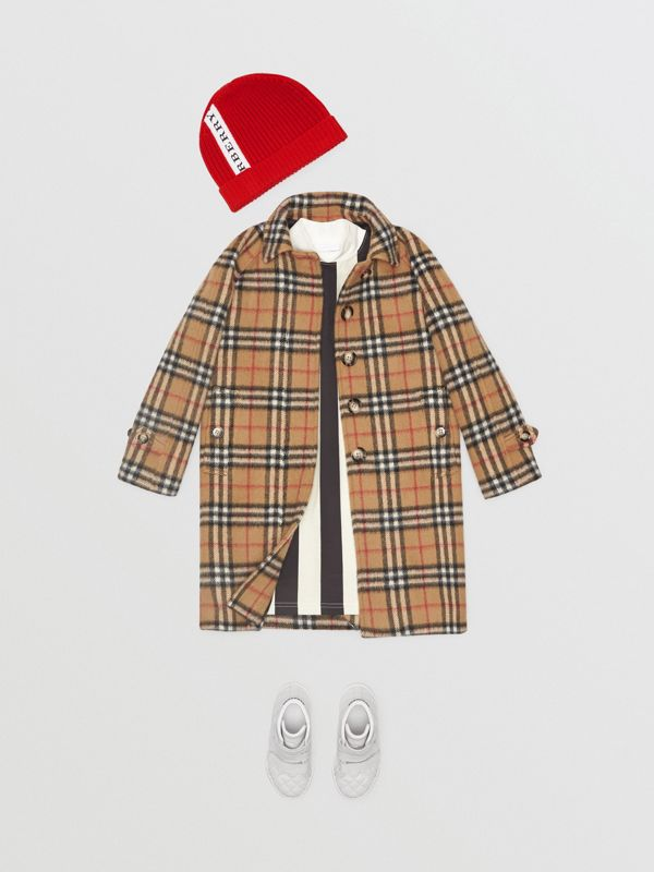 Vintage Check Alpaca Wool Blend Car Coat in Antique Yellow | Burberry - cell image 2