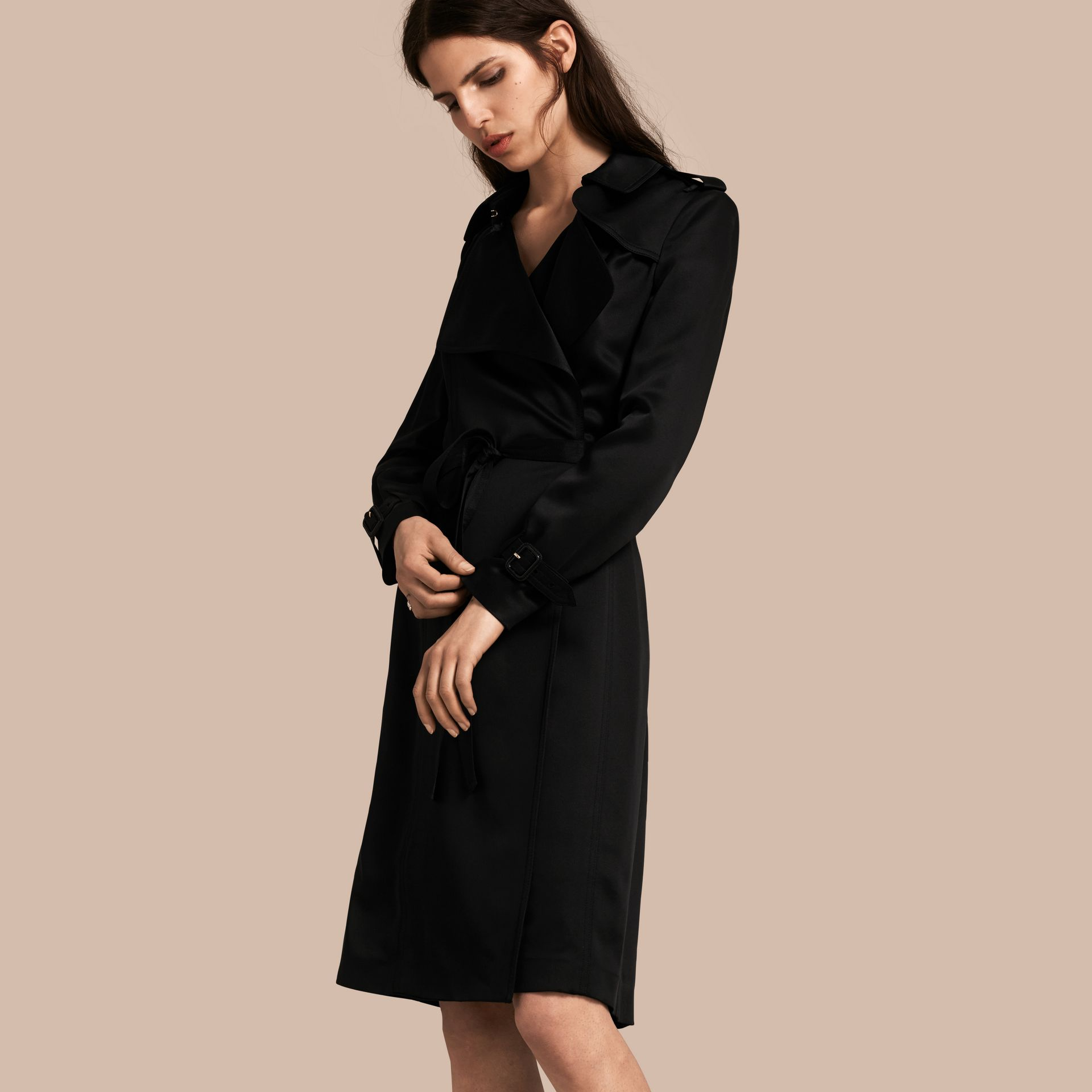 Black Silk Satin Wrap Trench Dress - gallery image 1