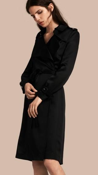 Silk Satin Wrap Trench Dress
