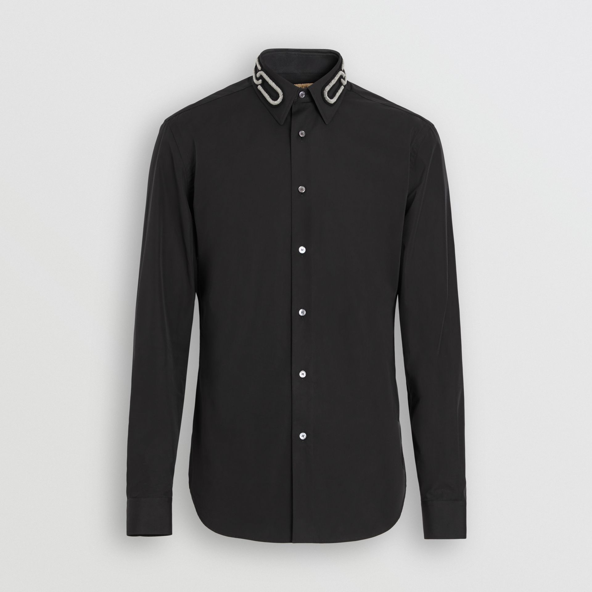 Slim Fit Bullion Link Cotton Poplin Dress Shirt in Black - Men | Burberry - gallery image 3