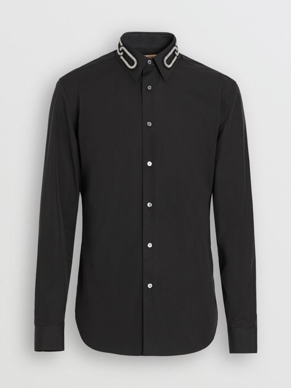 Slim Fit Bullion Link Cotton Poplin Dress Shirt in Black - Men | Burberry United Kingdom - cell image 3