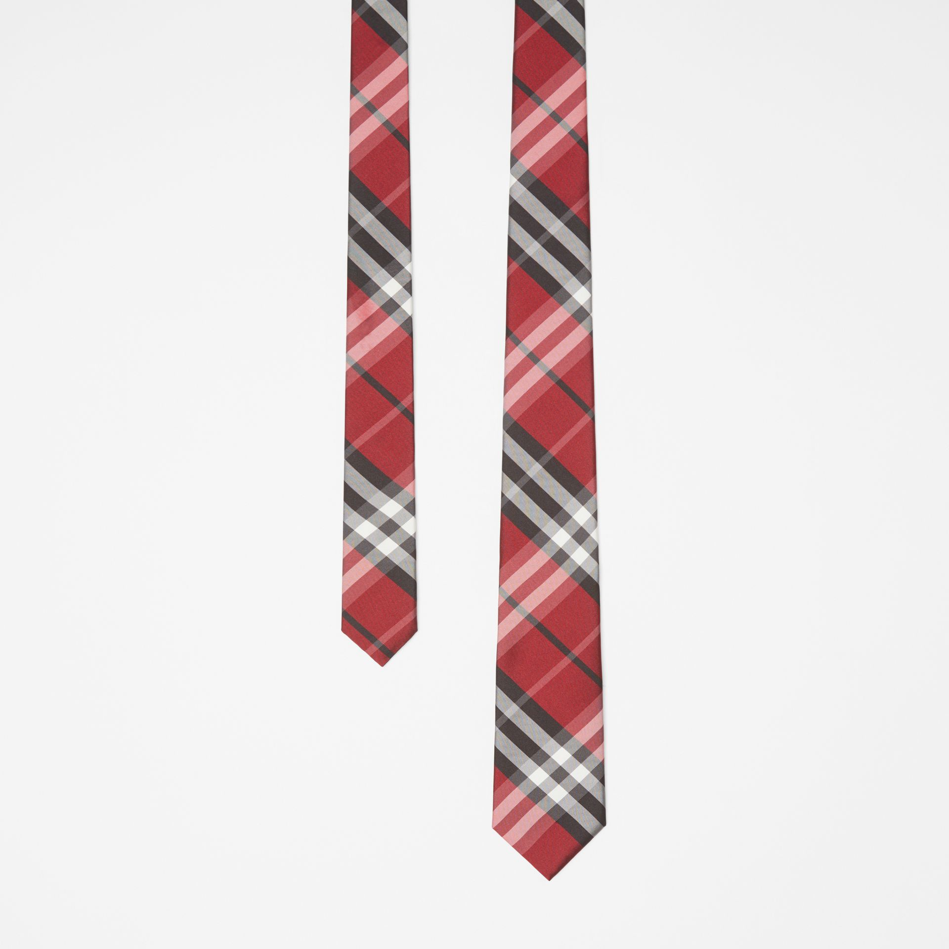 Modern Cut Vintage Check Silk Tie in Bright Red - Men | Burberry Canada - gallery image 0