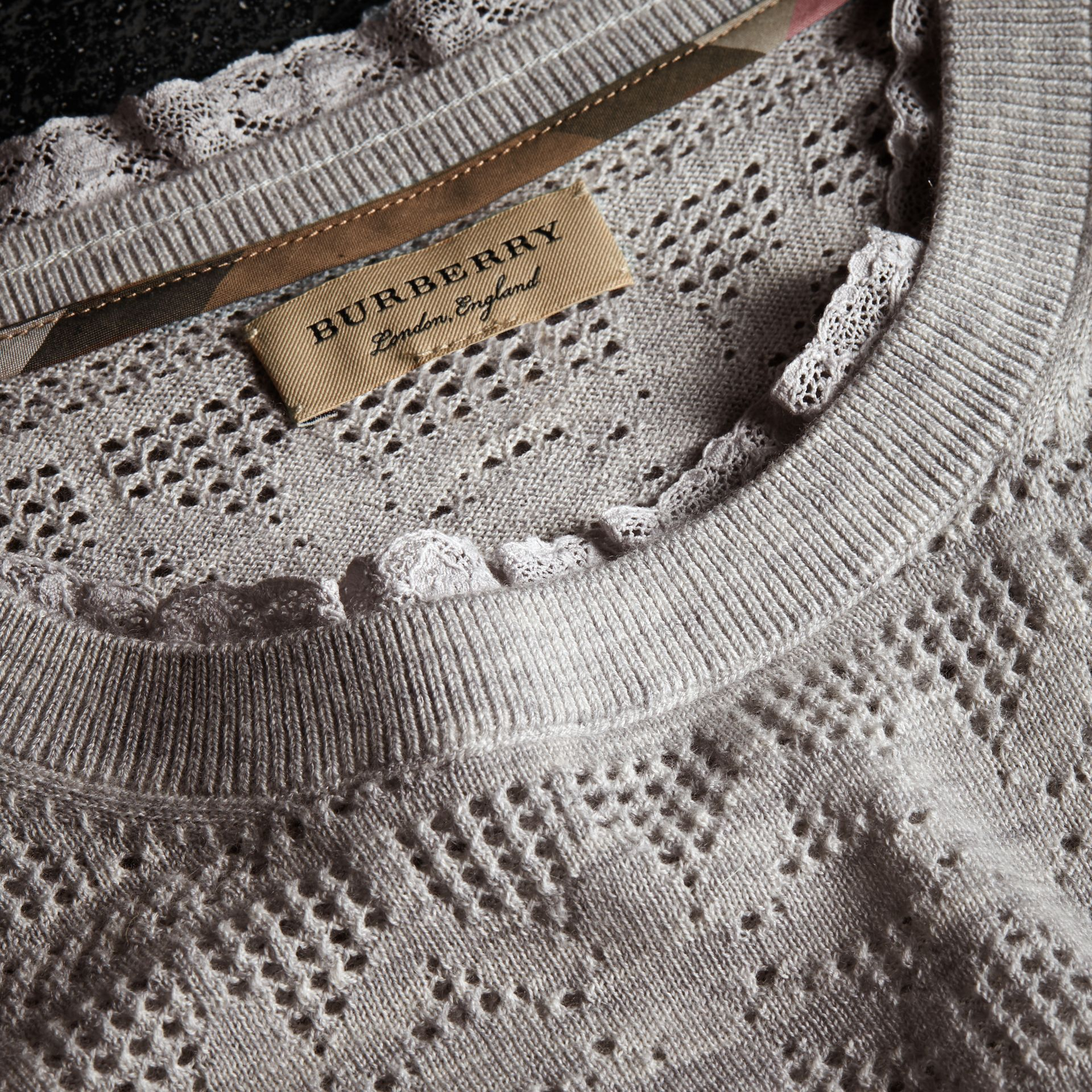 Lace Trim Pointelle Wool Cashmere Sweater in Light Grey Melange - Women | Burberry - gallery image 2