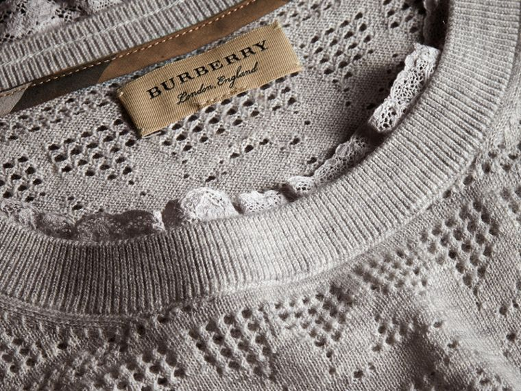 Lace Trim Pointelle Wool Cashmere Sweater in Light Grey Melange - Women | Burberry - cell image 1