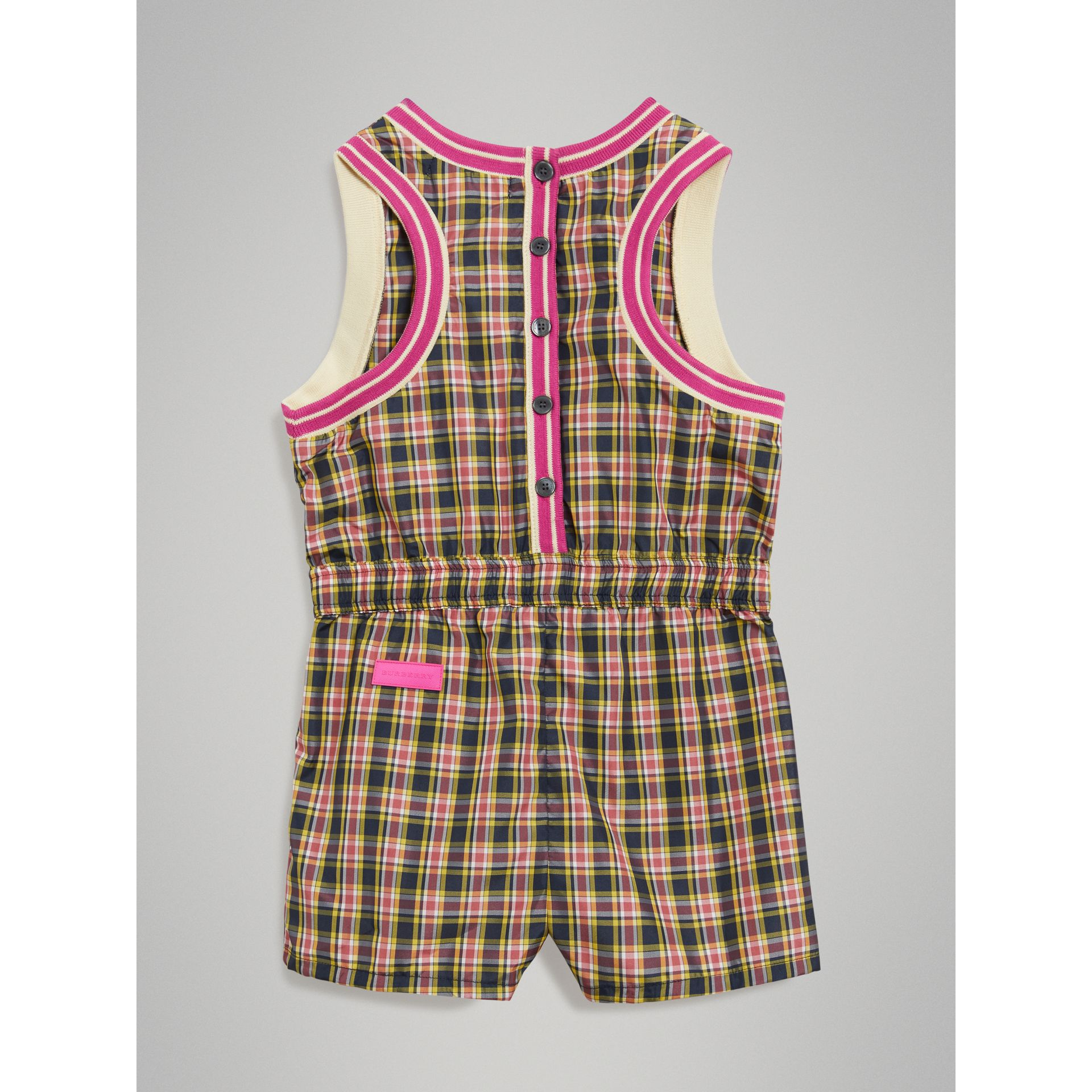 Striped Trim Check Playsuit in Bright Coral Pink - Girl | Burberry United Kingdom - gallery image 3