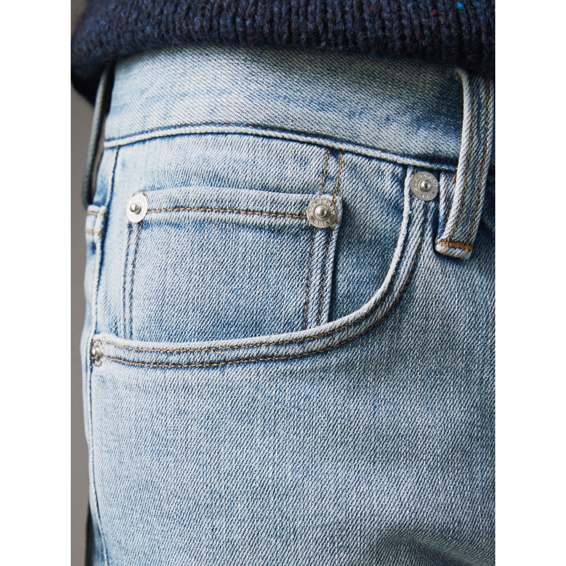 Straight Fit Comfort Stretch Japanese Denim Jeans in Light Indigo - Men | Burberry - gallery image 2